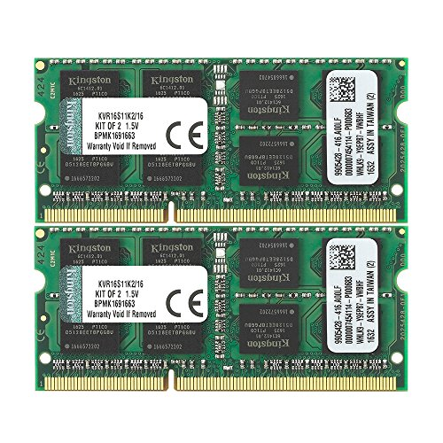 ValueRAM 16GB Kit (2x8GB) 1600MHz DDR3 PC3-12800 Non-ECC CL11 SODIMM Notebook Memory KVR16S11K2/16 by Kingston Technology