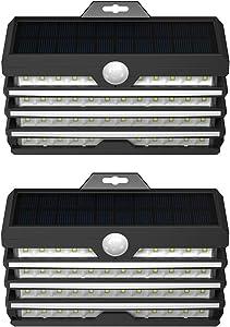 Baseus 260Lumens Solar Lights Outdoor Motion Sensor, 89LED Solar Security Lights with Lights Reflector, 180° Wide Angle Illumination, IP65 Waterproof, for Backyard, Garden, Patio, Deck, Fence(2 Pack)