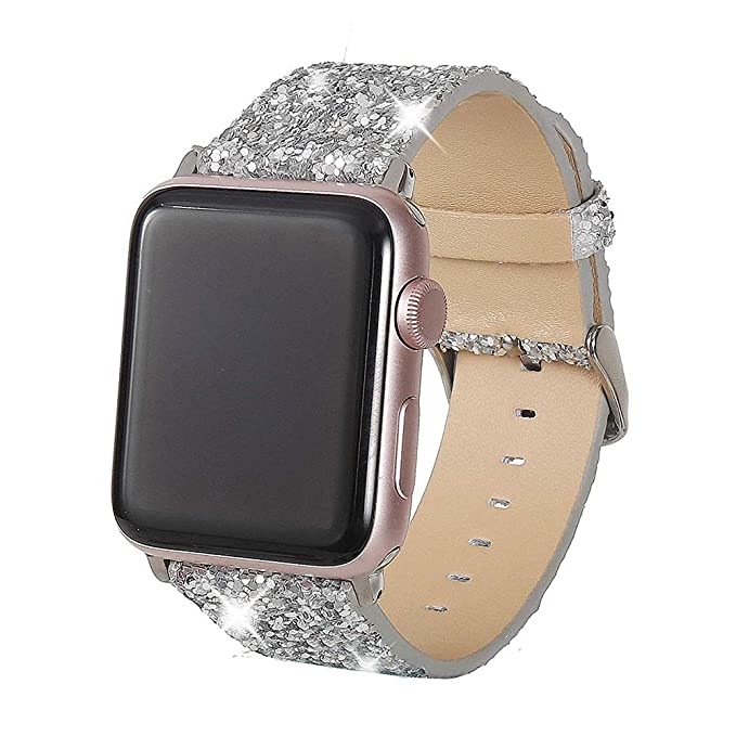 Henstar Compatible with Apple Watch Band 42mm 44mm,Women Genuine Leather  Shiny Bling Glitter Sparkly 0cd64831333
