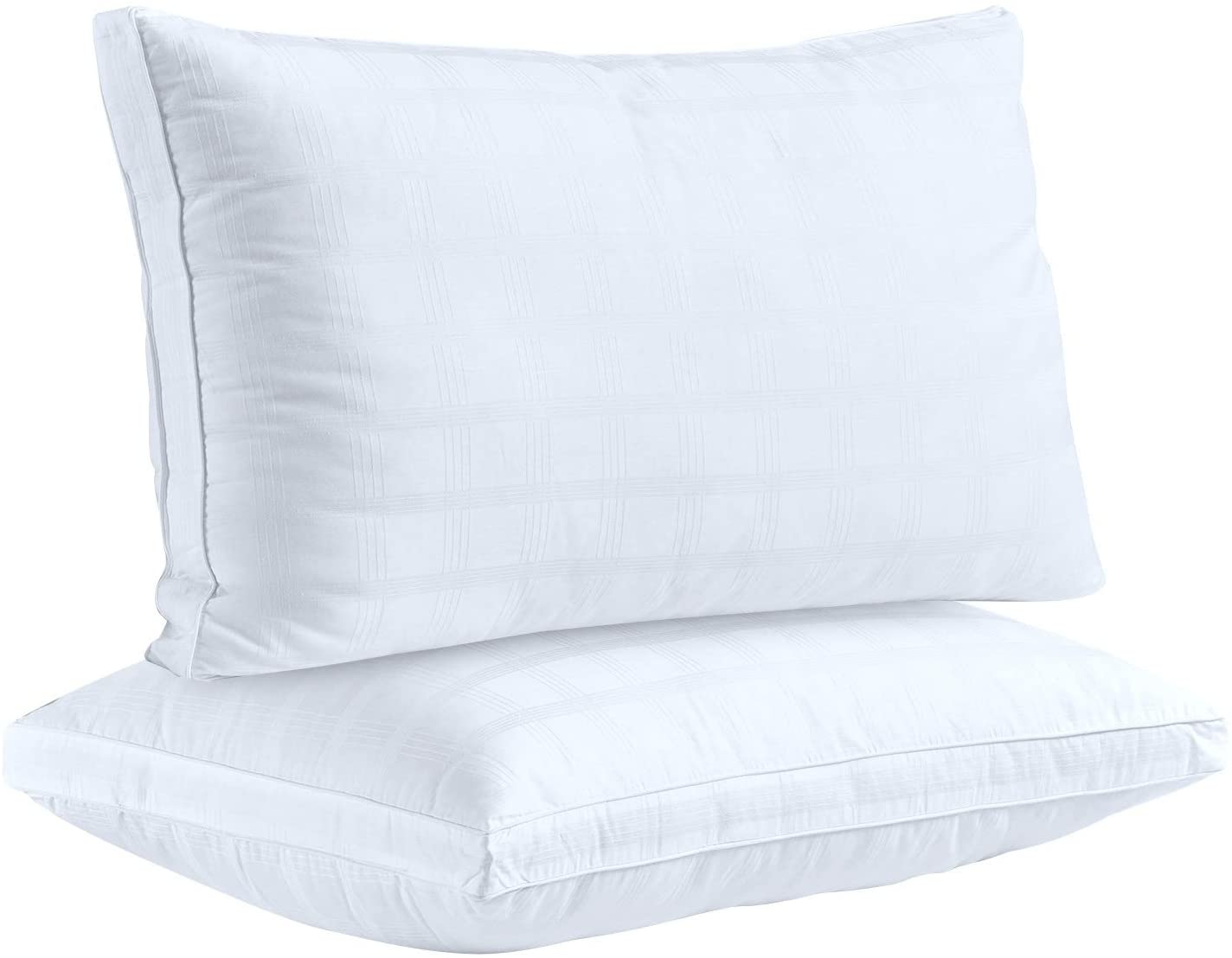 "Down Alternative Pillows for Sleeping Plush (2 Pack Standard), 100% Cotton Cover Best Hotel Bed Pillows with 2"" Gusset, Gel-Fiber Filled Bed Pillow by The Duck and Goose Co(20"" x 26"")"