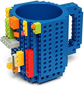 Build-On Brick Mug | Building Blocks Coffee Cup, Puzzle Toy Mug | Unique Funny Christmas Gift Idea (Blue)