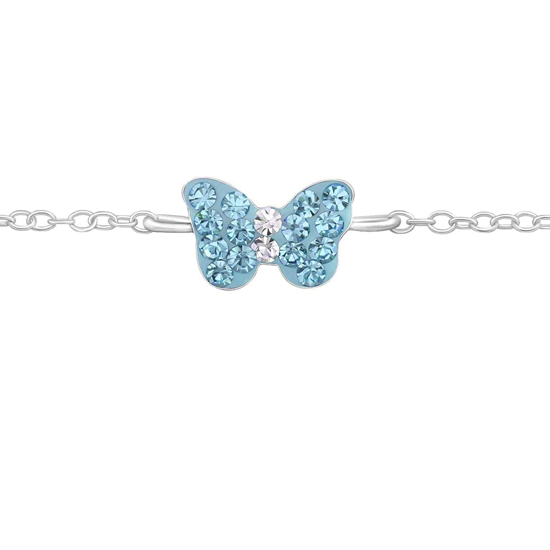 FIVE-D Kinder Armband Kristall Schmetterling Lä nge 14/16 cm 925 Sterling Silber im Geschenketui SL-kinderarm3a