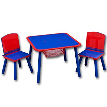 Kindersitzgruppe mit Ablagenetz rot//blau Kindersitzgruppe mit Ablagenetz mit Farbauswahl Sitzgruppe Kinder TW24 Kindertisch mit St/ühle