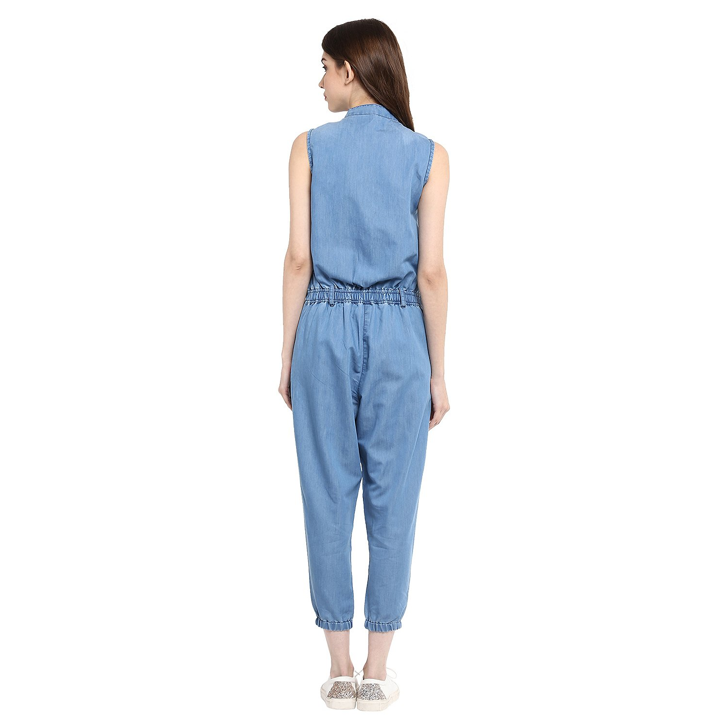 c9f266520c StyleStone (3180MndrnJS-Women s Denim Mandarin Collar Jumpsuit  Amazon.in   Clothing   Accessories