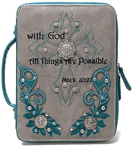 Scripture Bible Verse Mark 10:27 Floral Conchos Western Country Bible Cover Handle Books Case Cross Purse (Aqua)