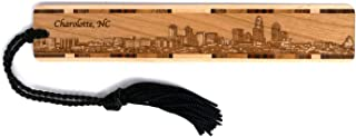 product image for Charlotte, North Carolina Skyline - Engraved Wooden Bookmark with Tassel