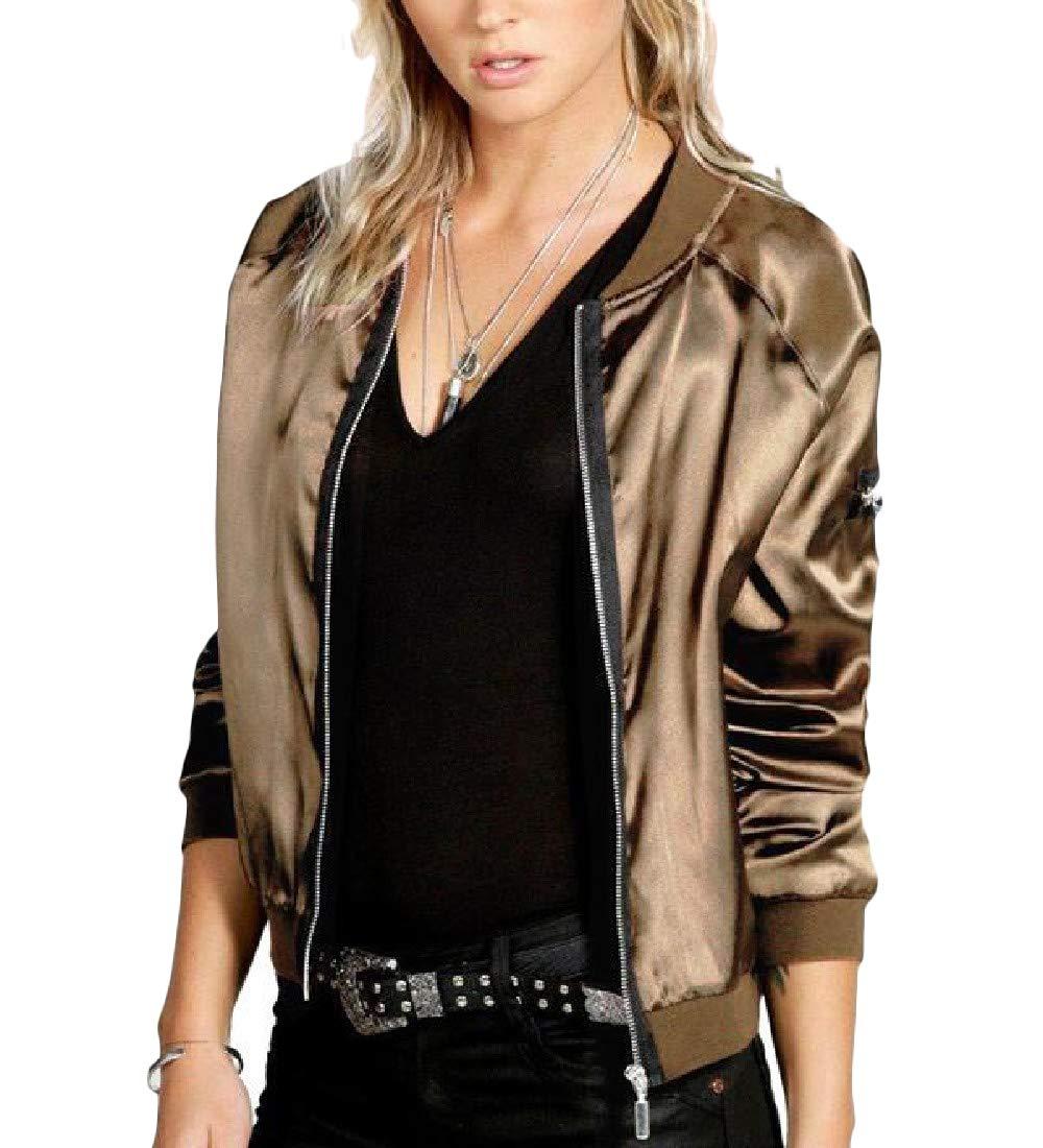 Joe Wenko Women Motorcycle Casual Long Sleeve Bomber Zipper up Outerwear Jackets Coat