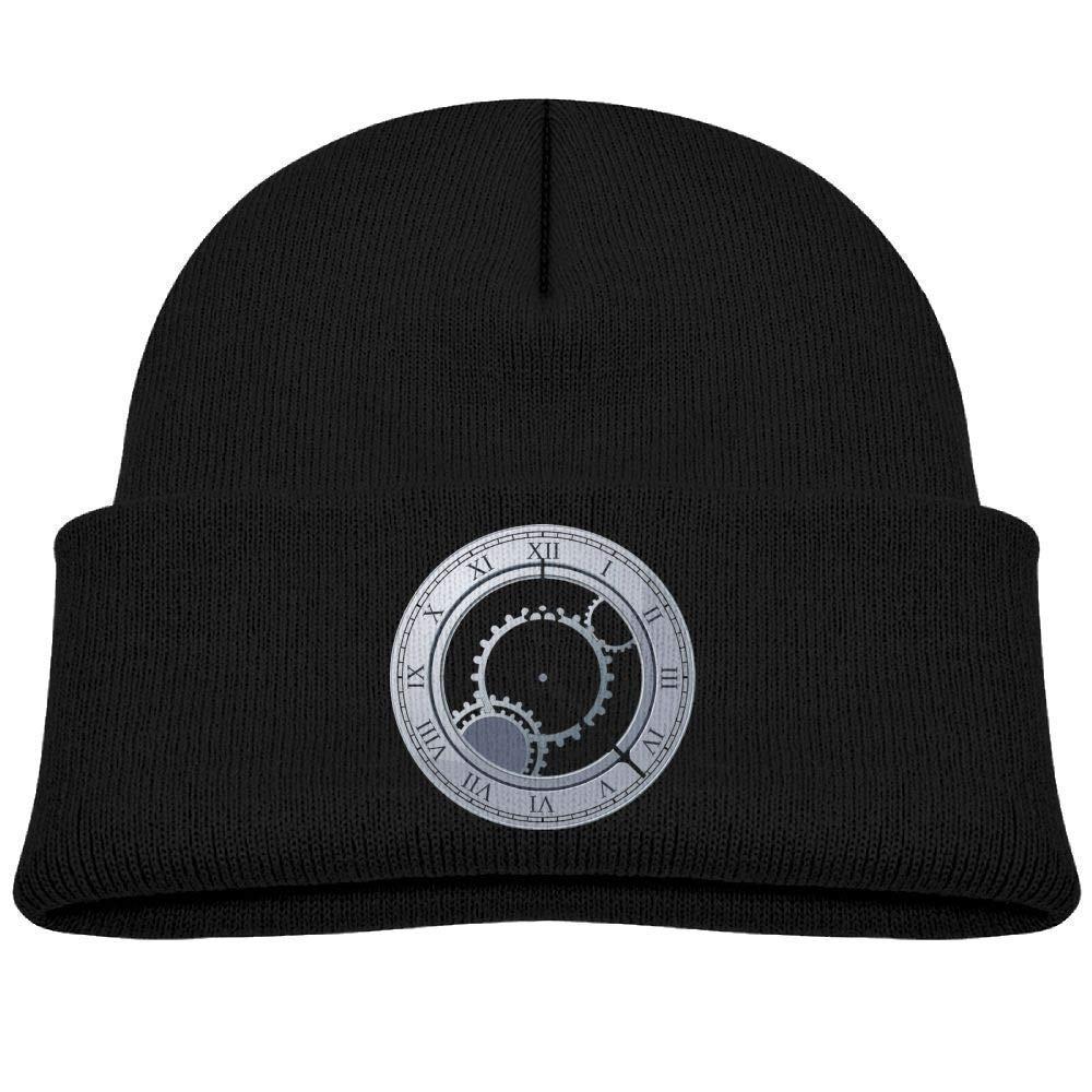 Beanie Cap Knit Hats Roman Clock Soft Baby Girls Black