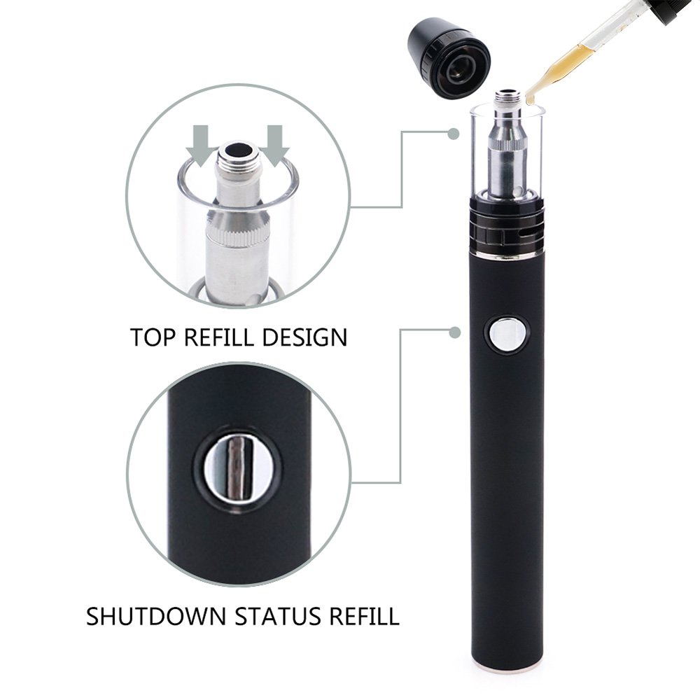 Electronic Cigarette Starter kit with 1600 mAh build-in battery , All-in-One Top Filling E-Cigarette , Nicotine-Free, No E-Liquid (black)