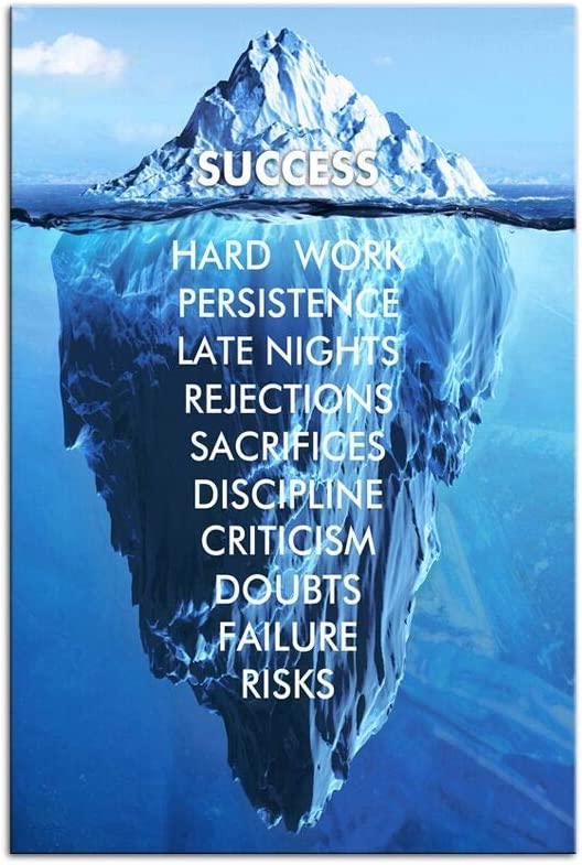 Inspirational SuccessCanvas Wall Art Blue Iceberg Motivation Quotes Print Poster Picture Artworks For Home school Office Artwork Decor Gift Ready to Hang (12''x 16'' 30 x 40 cm)