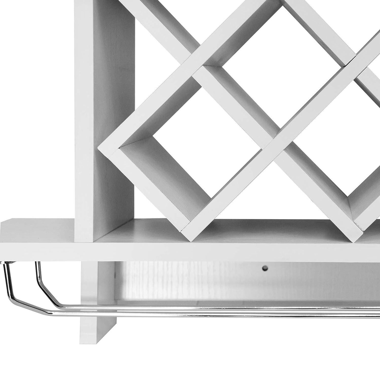 Porte Bouteilles Blanc 80x20x58cm /Étag/ère /à Vin Murale avec Porte-Verre pour 6 Bouteilles et 6 Verres Cave /à Vin Murale Support
