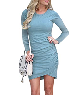 14b77fb04855 Mansy Women's Long Sleeve Tulip Bodycon Dress Ruched Short Mini Dresses at  Amazon Women's Clothing store: