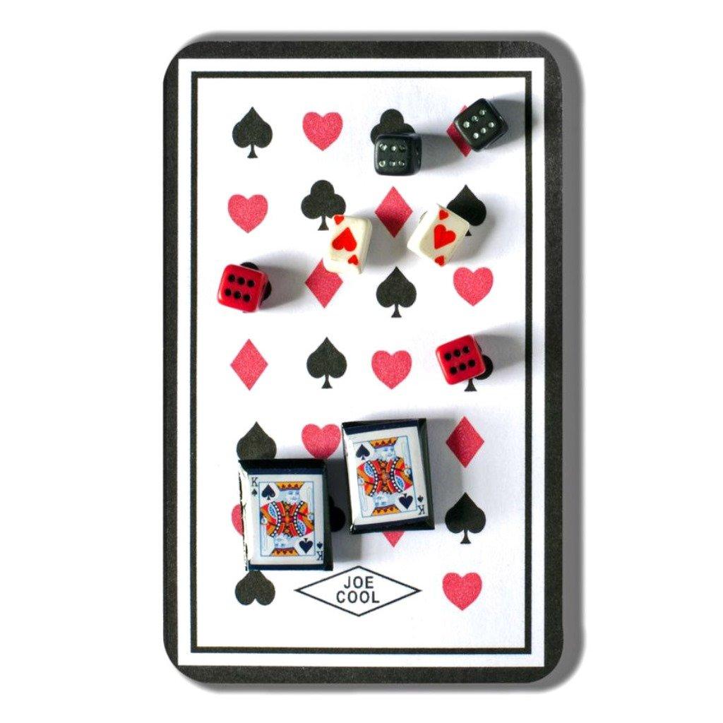 Joe Cool Resin Playing Card and Dice Stud Earring Set