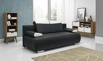 Flam Stoff Sofa Bett Couch Dunkelgrau Mit Speicher Schlafbereich
