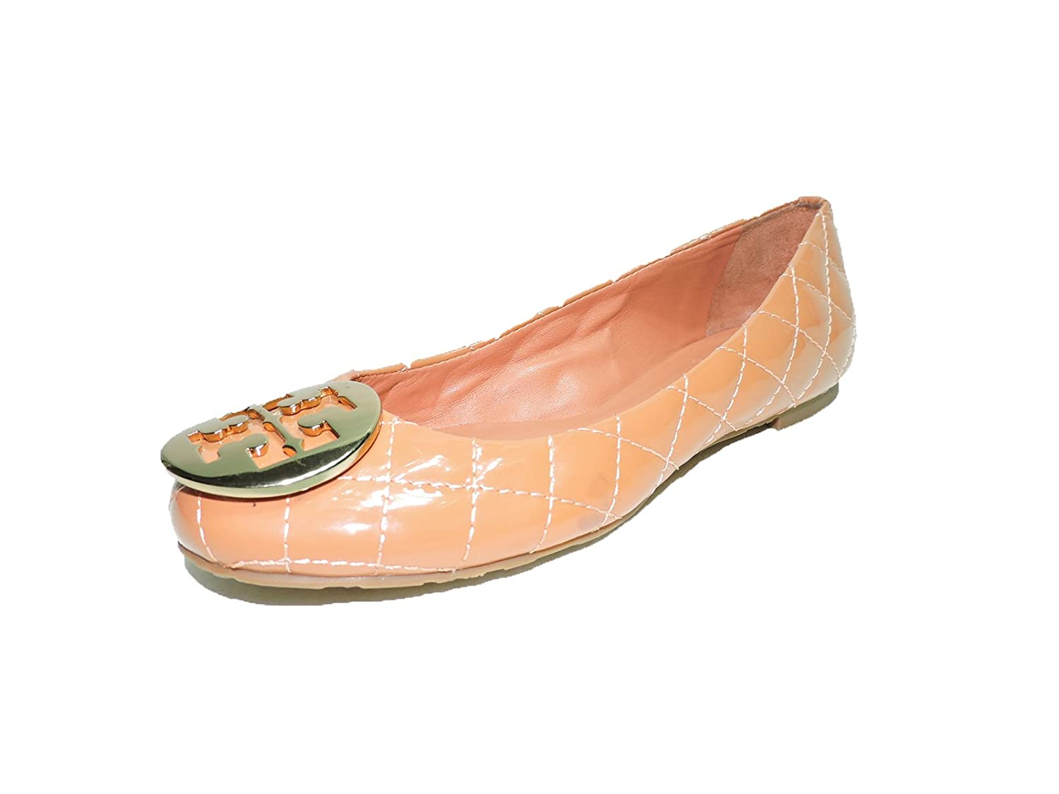 Tory Burch Laura QUILTED Shoes Ballet Flats patent Leather TB Logo Terra Cotta size 5.5 M