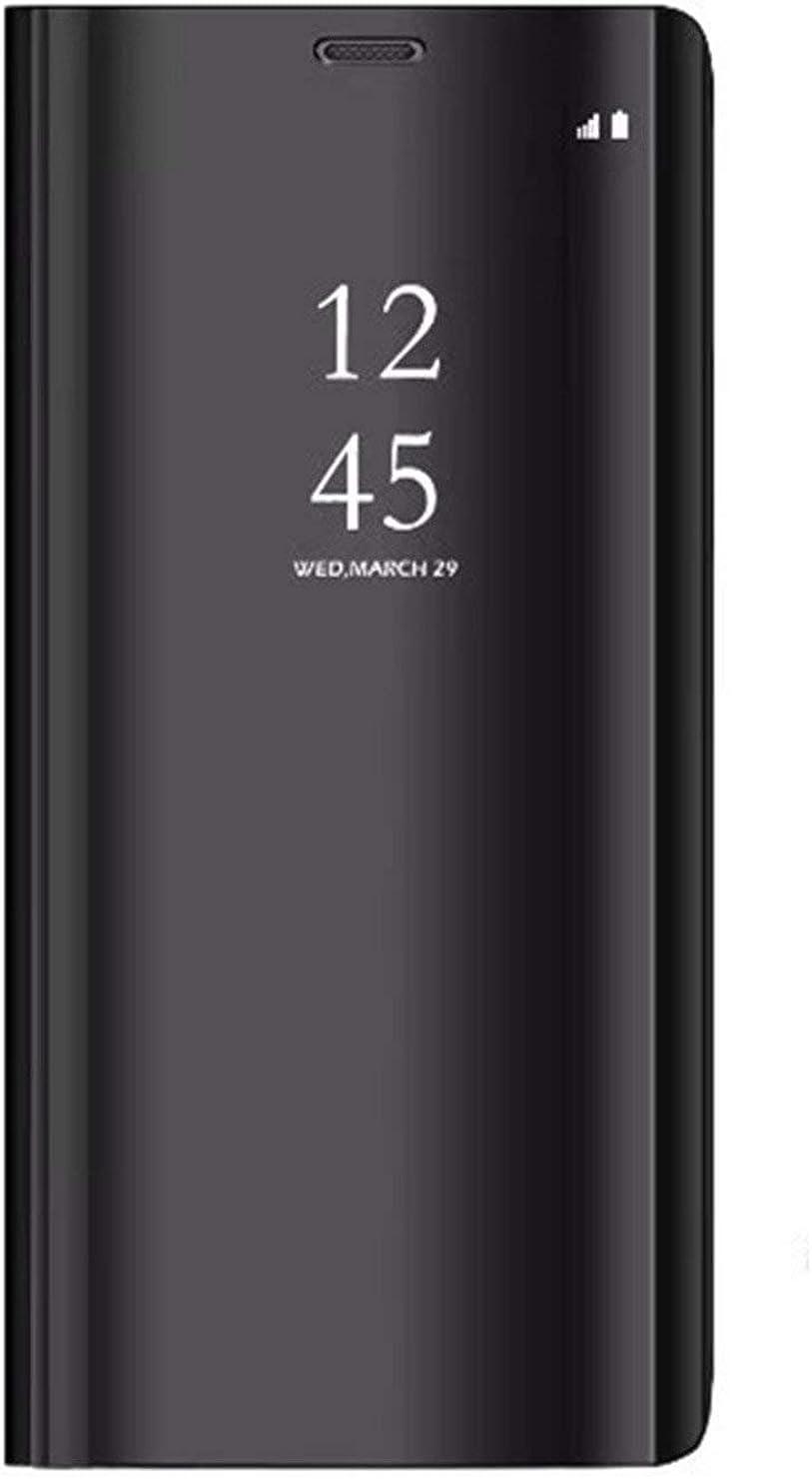 Xiaomi Redmi 5 Plus Funda, Flip Tapa Libro Carcasa - Modelo Fecha y Espejo Brillante tirón del Duro Case, Espejo Soporte Flexible Plegable en Reflectante para Xiaomi Redmi 5 Plus Negra