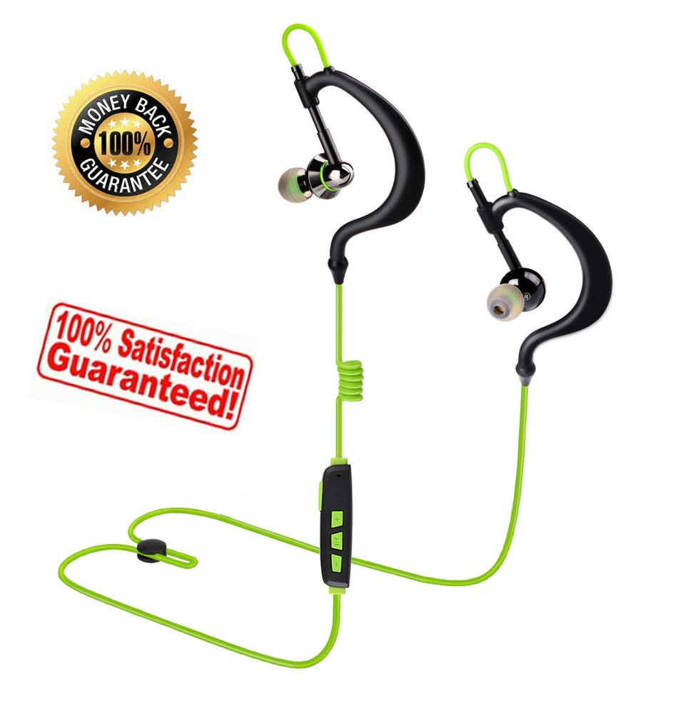 Sport Wireless Headphones Running Earphones with Microphone In-Ear Earbuds Headset Waterproof Sweat Proof for Work Gym iPhone iPad Android Cell Phones Tablets, Comfy Adjustable Over Ear Hook