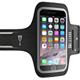 ELECHOK Schweißfest Sport Armband Fitness Universell Handyhülle iPhone-ID Touch-Mit Schlüsselhalter,Kabelfach,Kartenhalter,für iPhone 8/7/6/6S/5/SE,Galaxy S7/S6 edge Laufen Joggen bis 5.1 Zoll-Schwarz
