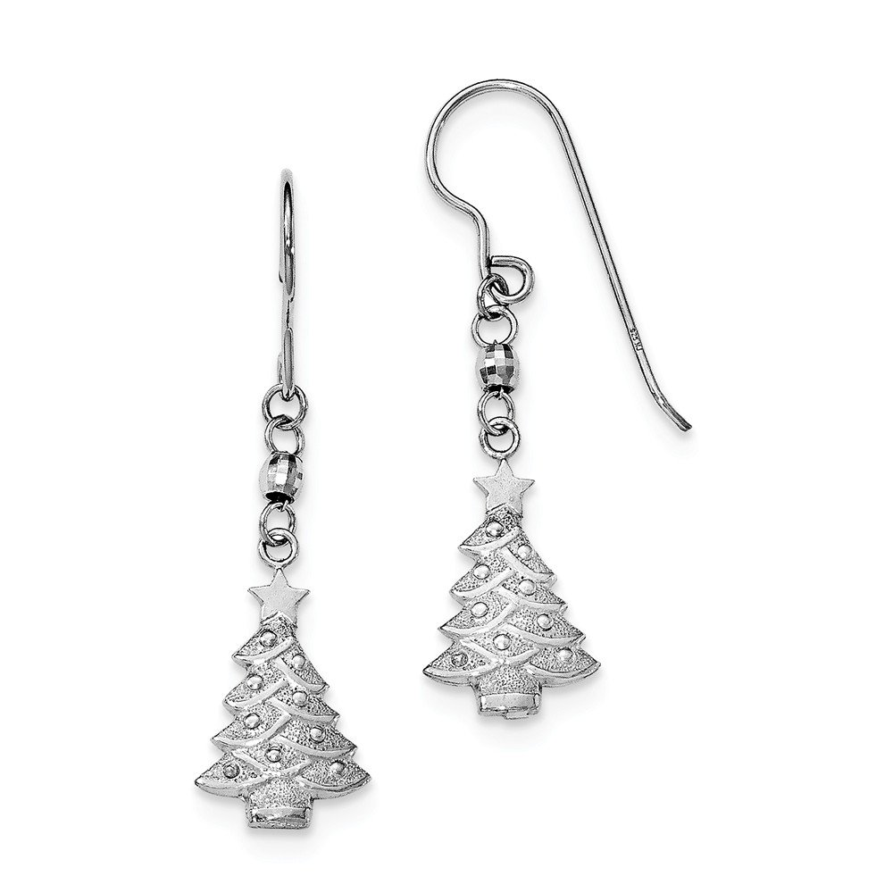 Sterling Silver Christmas Tree Dangle Earrings (Approximate Measurements 42mm x 12mm)
