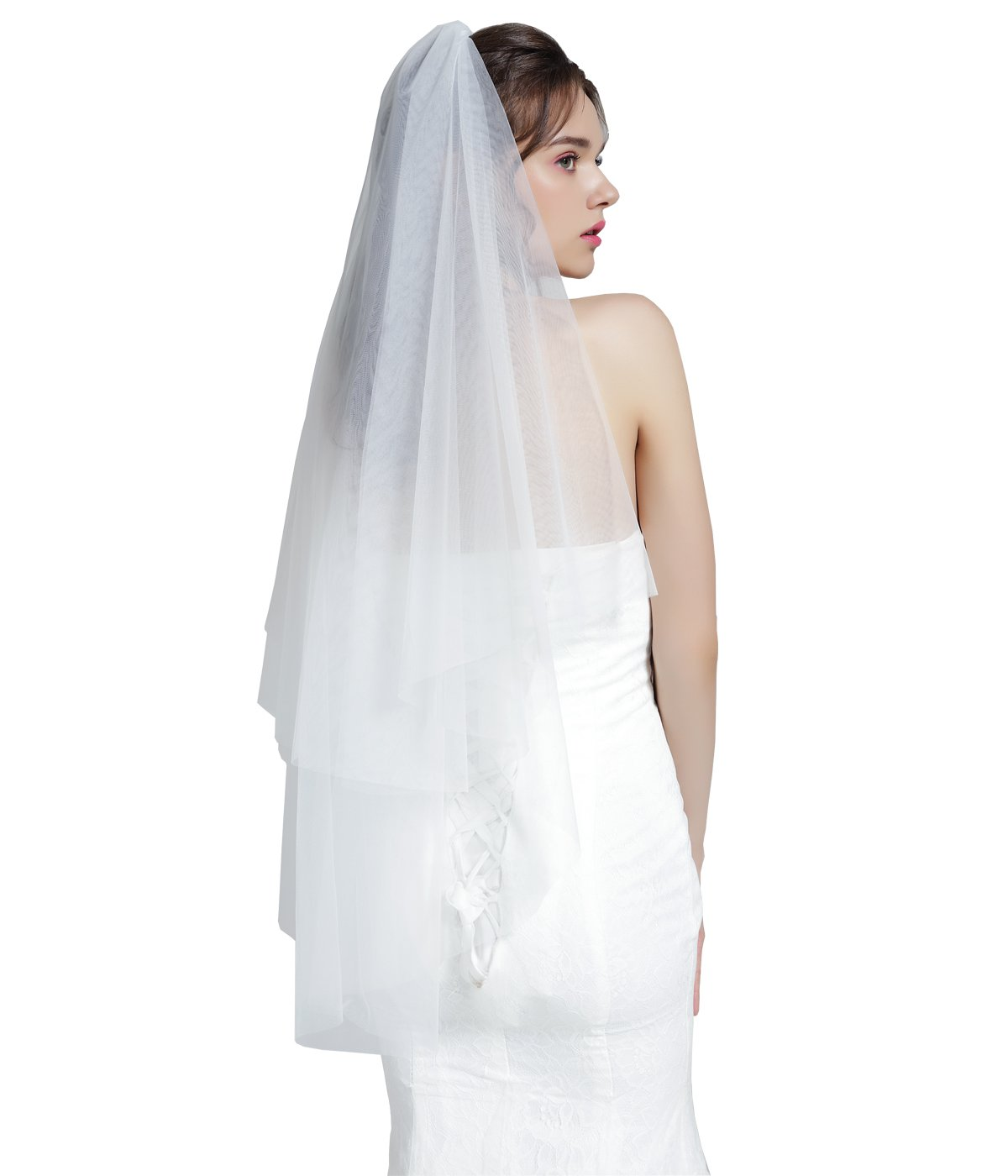Wedding Bridal Veil with Comb 2 Tier Cut Edge Elbow Length 28'' White