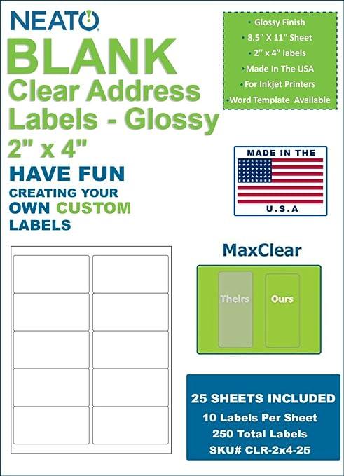 amazon com neato clear address labels 2 x 4 10 labels per