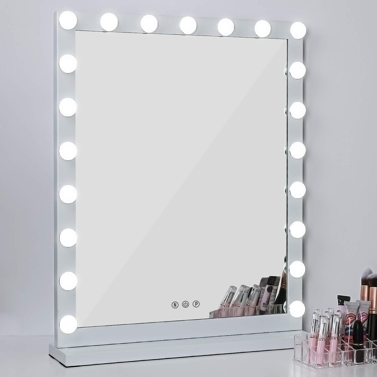 MRah Lighted Makeup Vanity Mirror, 3 Color Modes Tabletops Lighted Mirror LED Illuminated Cosmetic Mirror with 21 LED Dimmable Bulbs (25'' x 20'') by MRah