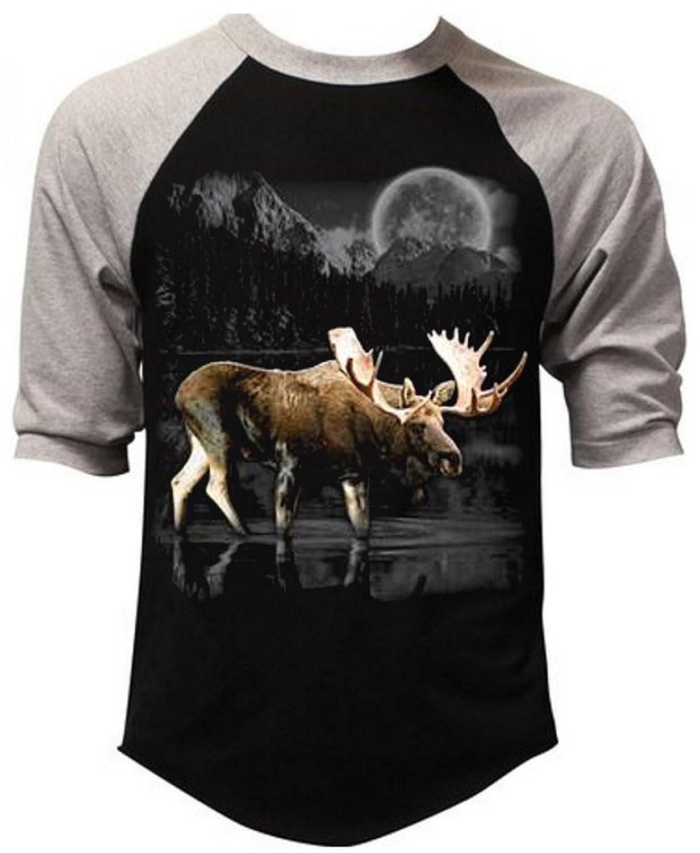 Wilderness Moose Hunting Tee Men's Black/Gray Raglan Baseball T-Shirt Black/Gray