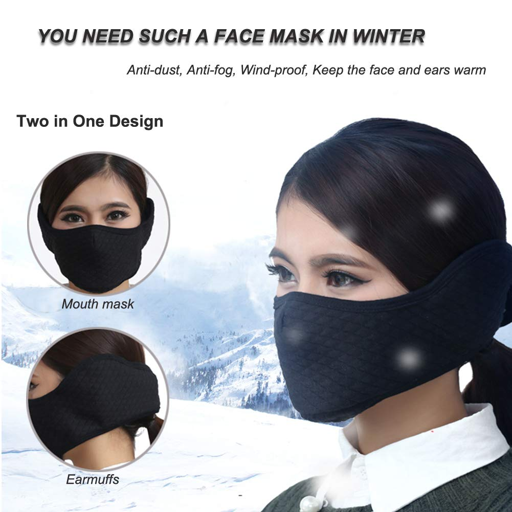 Half Face Mask Winter Warmer Dust Mask Windpoof Mouth Mask Ski Mask with Earmuffs Adjustable for Adults for Motorcycle, Cycling, Skiing, Snowboard, Hiking, Outdoor Activities