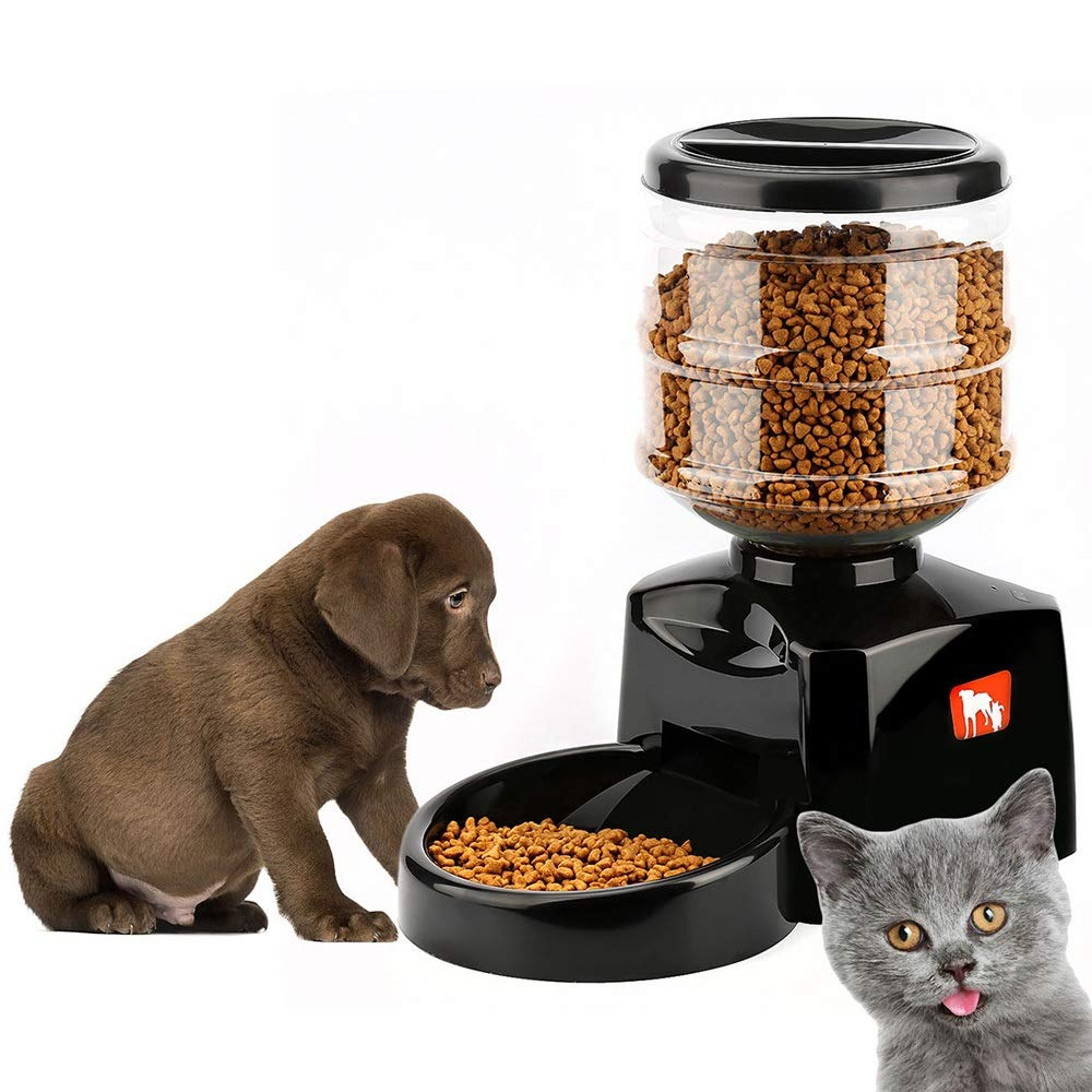 HAIMEI-US Chic Snacks Pet Products Timed Reflexive Feeder Dog Food Cat Feeding Machine Pet Outdoor Equipment (Color : Black) by HAIMEI-US
