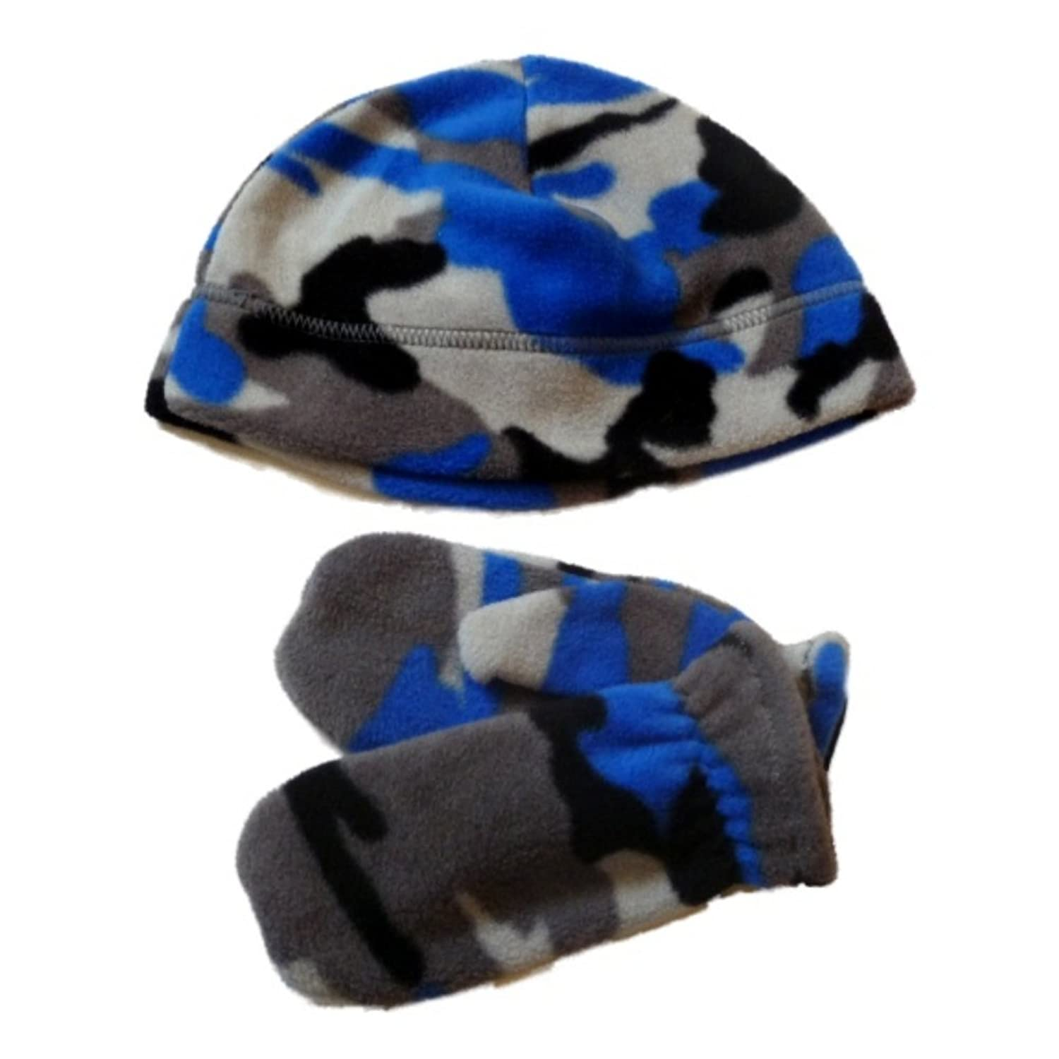 top Faded Glory Toddler Boys Gray & Blue Cammo Beanie & Mittens Fleece Hat Set for cheap