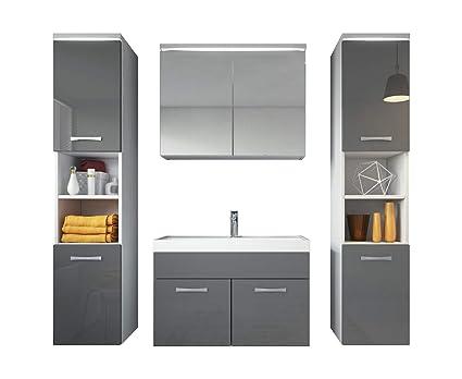 Badezimmer Badmöbel Set Paso Xl Led 80 Cm Waschbecken Hochglanz Grau Fronten Unterschrank 2x Hochschrank Waschbecken Möbel