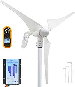Pikasola Wind Turbine Generator 12V 400W with a 30A Hybrid Charge Controller. As Solar and Wind Charge Controller which can Add Max 500W Solar Panel for 12V Battery.