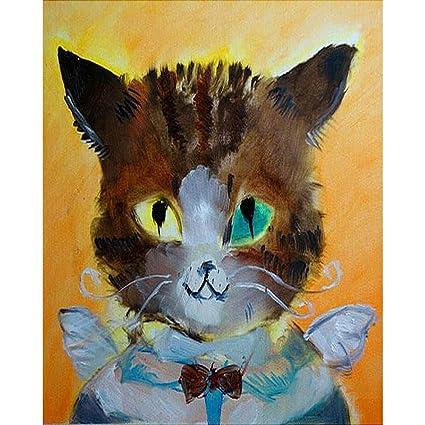 Coloriage Chat Cadeau.Lhyxh Ange Chat Animaux Diy Peinture Par Numeros Kits
