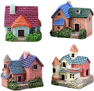 MAOMIA Miniature Fairy Garden Brick House 4 Pcs Micro Landscape Garden Decoration Plant Flower Pots Ornaments