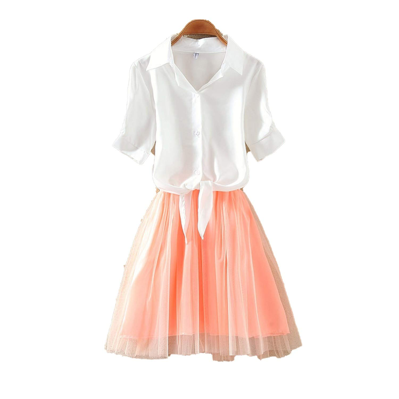 Shirt and Sling Tutu Dress Suit 2 Piece Dress Blue Pink ...