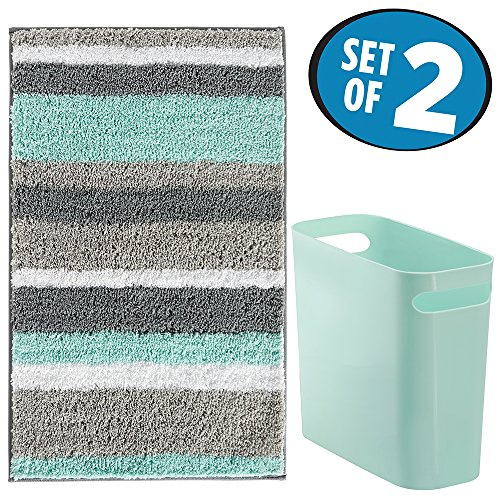 mDesign Striped Microfiber Bathroom Accent Rug, Wastebasket Trash Can - Set of 2, Mint/Gray (Mint Rug)
