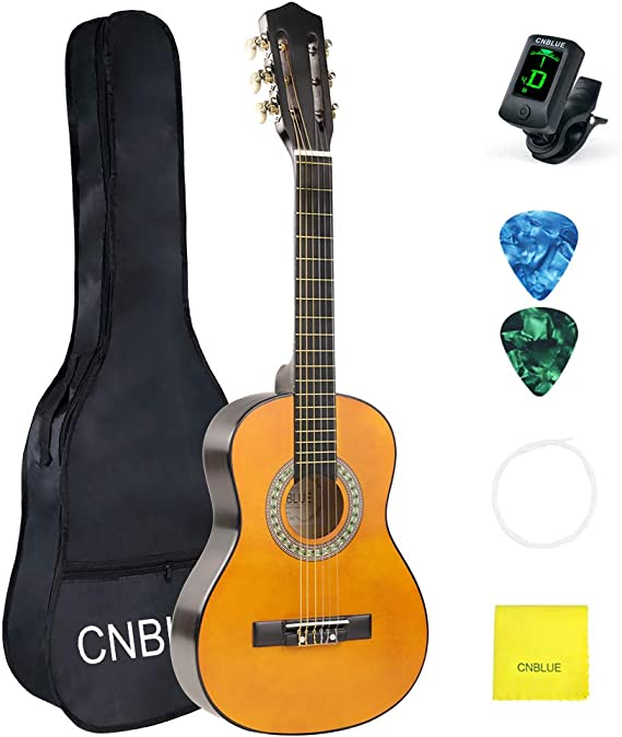 Kid Beginner Guitar Classical Guitar Acoustic Guitar 1/2 Half Size 30 inch Nylon Strings with Bag Clip Tuner Extra Strings Picks Wipe
