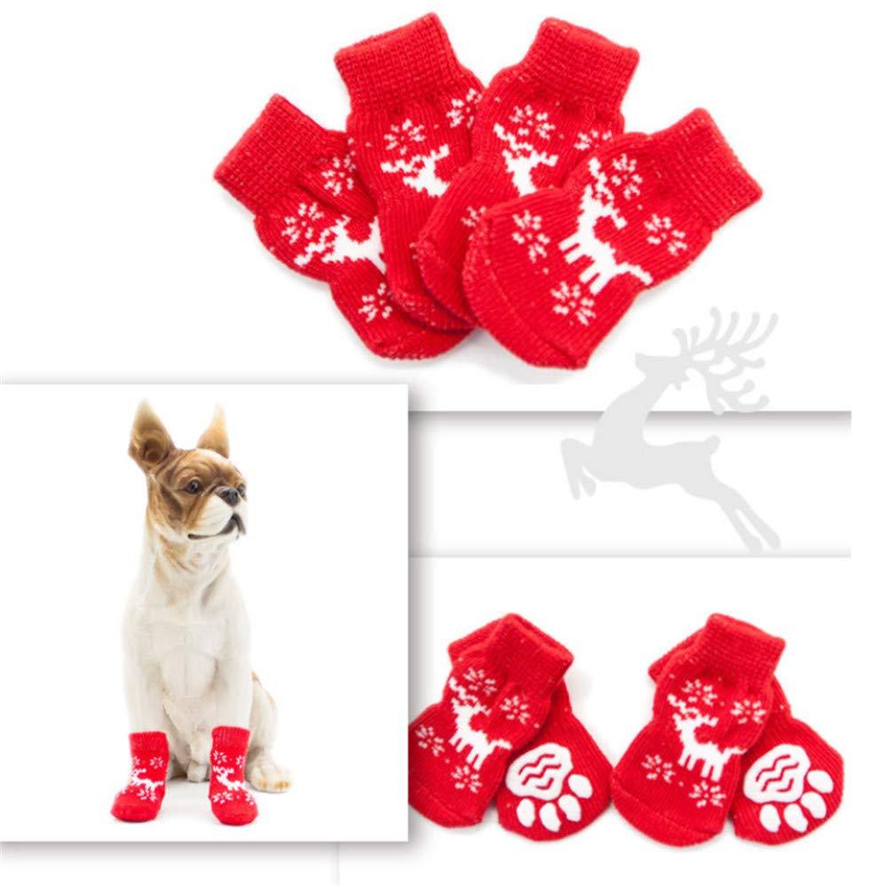 L (L 1.38\ donau 4pcs lot Winter Christmas Dog Socks Anti-Slip Cotton Pet Puppy SocksDog Indoor Wear Paw Predector for Small Medium Large Dogs Deer L