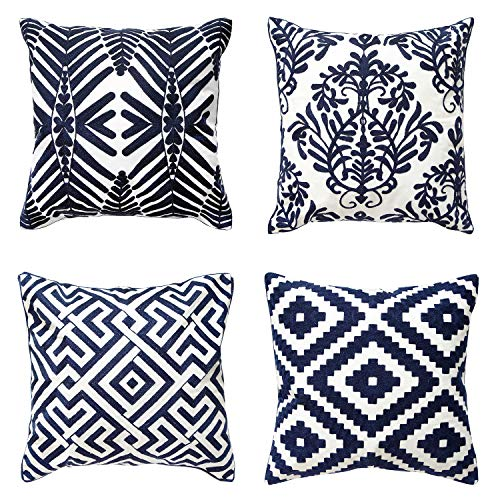 ALPHA HOME Embroidered Throw Pillow Covers Decorative Cotton Cushion Cases 18 x 18 inch, Set of 4, Navy2