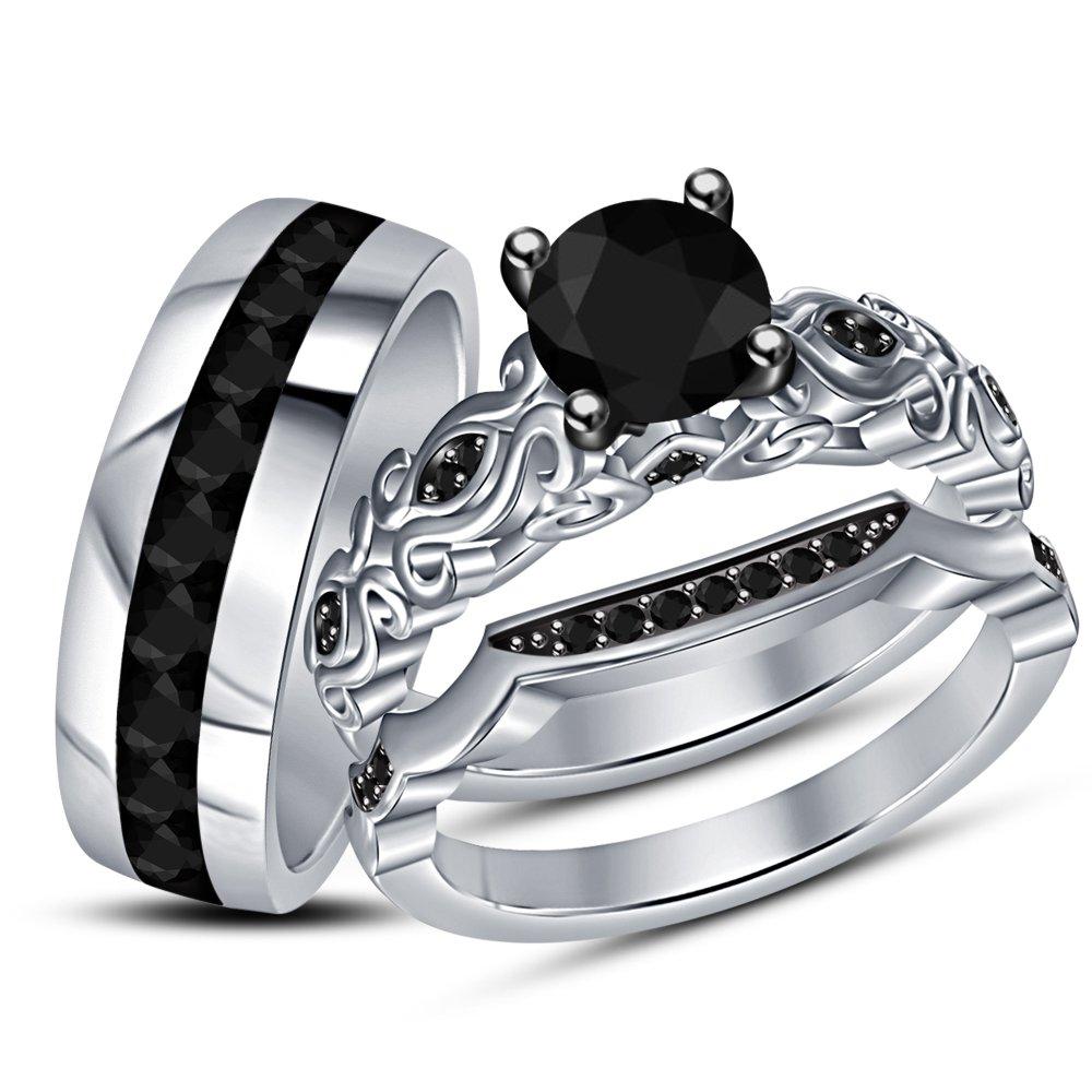 TVS-JEWELS New Design Black CZ Women's & Men's Engagement Wedding Ring Trio Set W/ 925 Sterling Silver