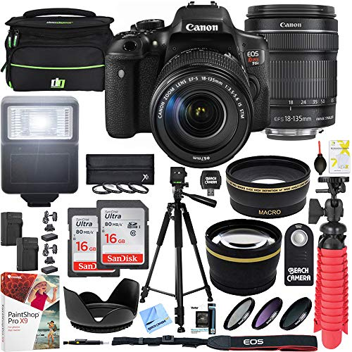 Canon T6i EOS Rebel DSLR Camera with EF-S 18-135mm f/3.5-5.6 is STM Lens and Two (2) 16GB SDHC Memory Cards (32GB Total) Plus Triple Battery Tripod Cleaning Kit Accessory Bundle from Canon