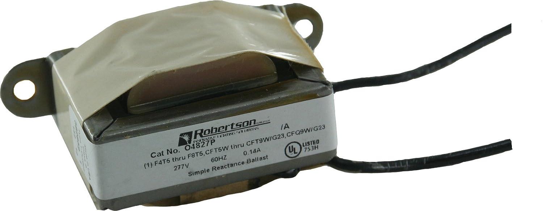 ROBERTSON 3P10072 04827P AM Fluorescent Magnetic Ballast for 1 CFT5W/G23, CFT7W/G23, CFT9W/G23 or CFQ9W/G23 CFL Lamp, Preheat Start, 277Vac, 60Hz, Normal Ballast Factor, NPF Robertson Worldwide
