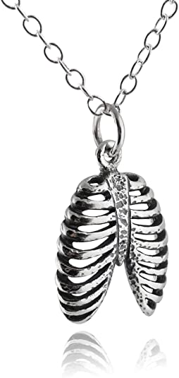 Black Ribcage Ribs Bones Skeleton Plastic Acrylic Black Chain Necklace