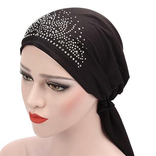 Potato001 Fashion Lady Rhinestone Muslim Turban Hat Chemo Cap Hair Loss Hijab Cap Cover (Black