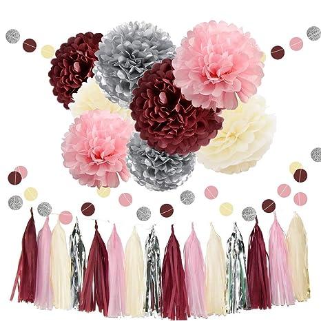 Waysla Bridal Shower Decorations Burgundy Pink Cream Silver Wedding Decorations Tissue Paper Pom Pom Tassel Garland Burgundy Pink Birthday Party
