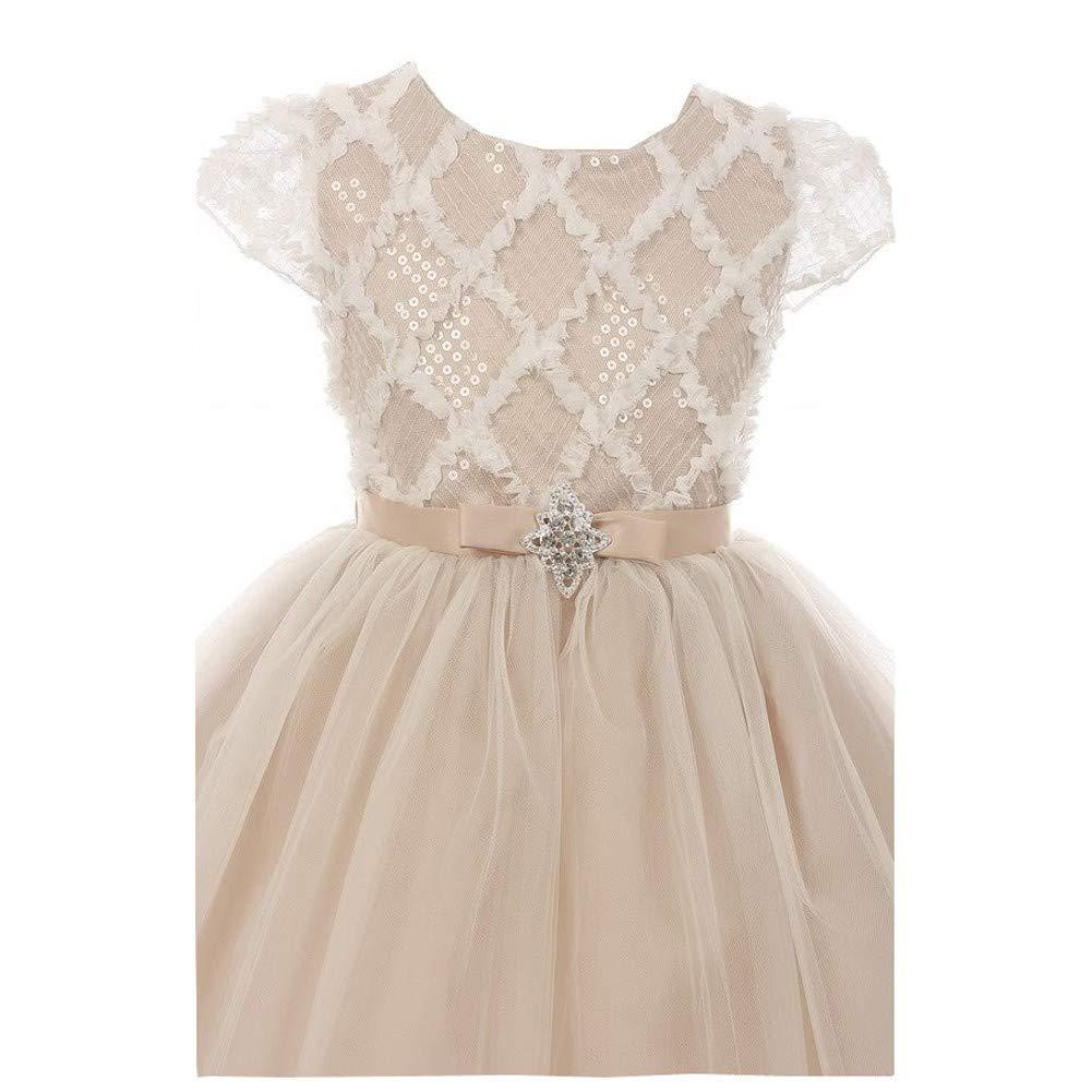 d2f6c0a69 Amazon.com  Kiki Kids Girls Champagne Rhombus Sequin Tulle Junior ...