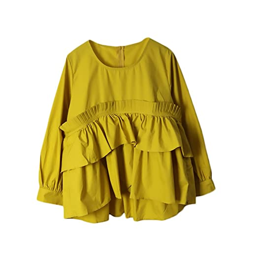 Camisas Mujer Manga Larga Vintage Elegantes Cuello Redondo Asimétrica Sencillos Especial Dobladillo con Volantes Blusas Primavera Moda Anchos Color Sólido ...