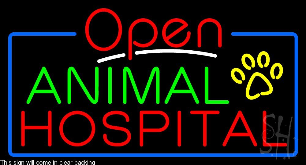 Animal Hospital Clear Backing Neon Sign 20'' Tall x 37'' Wide