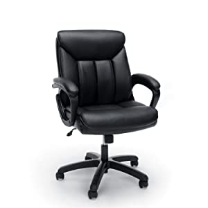 Essentials Leather Executive Computer/Office Chair with Arms - Ergonomic Swivel Chair, Black