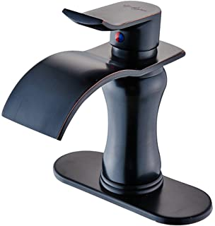 Bwe Waterfall Single Handle One Hole Bathroom Sink Faucet Oil Rubbed